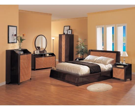 Andrea Bedroom Set Zebra High Gloss Finish