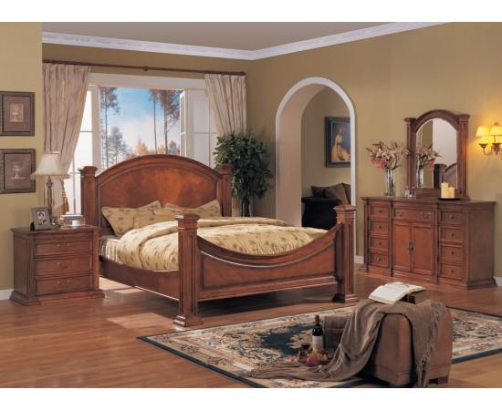 Grace Bedroom Set Honey Walnut Finish