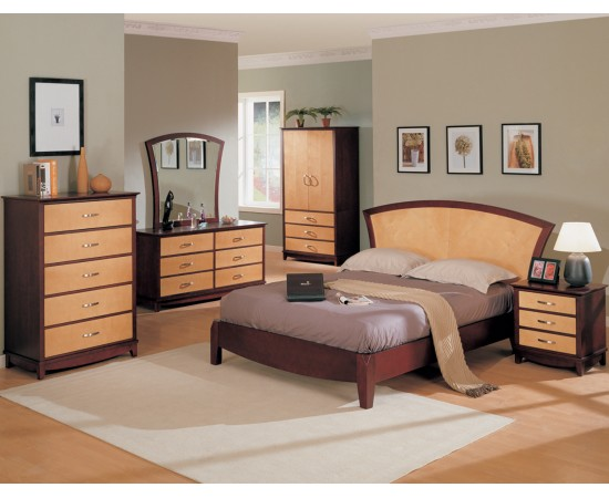 Julie Bedroom Set Maple / Dark Cherry Finish