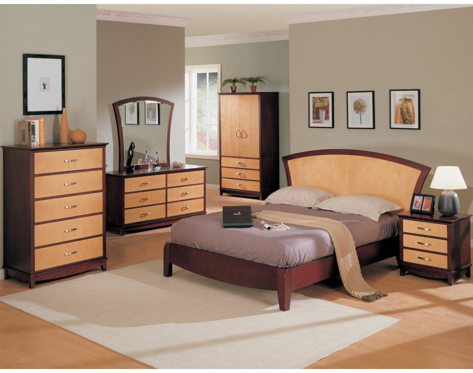 Julie Bedroom Set Maple / Dark Cherry Finish