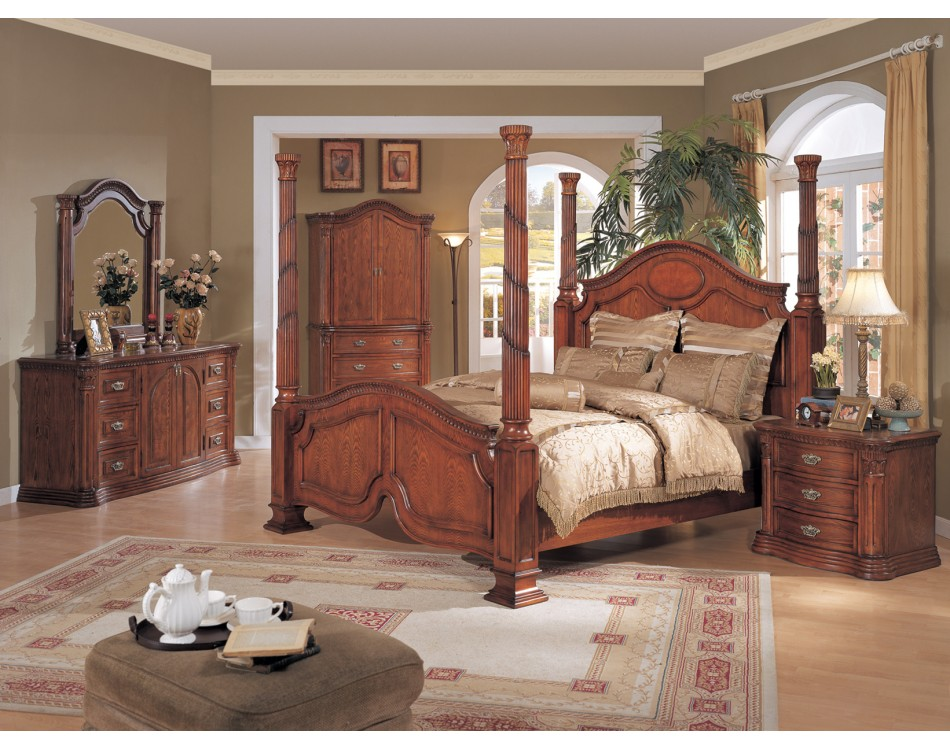 tuscany poster bedroom set walnut finish - Kids Bedroom Sets Under 500